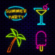 Summer Beach Party Neon Icons Isolated