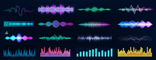 Sound Waves And Voice Records Collection. Futuristic Frequency Audio Waveform And Music Wave. Voice And Sound Recognition In HUD Style. Graphic Set Audio Waves, Equalizer, And Flow Music. Vector