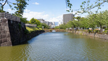 Stone Wall And Moat Of Odawara Castle
