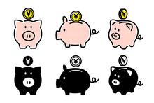 豚の貯金箱, 貯金, 節約のベクターアイコンイラスト白背景
