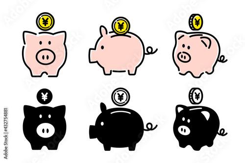 Tablou Canvas 豚の貯金箱, 貯金, 節約のベクターアイコンイラスト白背景