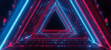 Fototapeta Perspektywa 3d - 3d rendering of ultraviolet neon triangular on black background.1980s concept.Neon triangular,glowing lines,tunnel,laser show,Stage neon light colorful blue red triangle shape frame technology.