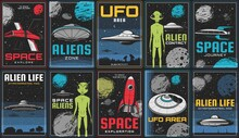 Space Exploration, Alien Life And UFO Contact Posters. Sci-fi Spaceship, Retro Rocket And Flying Saucer In Outer Space, Humanoid Alien Creature, Solar System Planets And Moon, Asteroid Vector