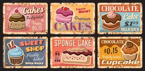 Fototapeta Pastry cake desserts metal rusty plates, bakery shop sweets retro posters, vector. Patisserie cafe and sweet shop cafeteria breakfast menu of chocolate cake or cupcake muffin with berries and candy obraz