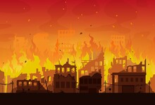 City In Fire, Destroyed Burning Houses And Buildings, Vector Disaster Or War Background. Burning City Ruins And Town Destruction From Earthquake, Bomb Explosion Attack And World Apocalypse Catastrophe