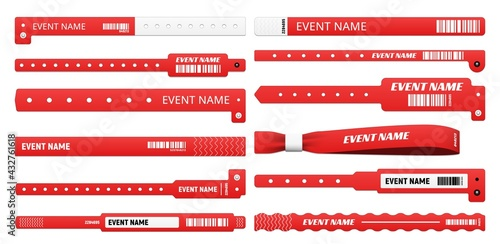 Valokuva Event bracelet realistic mockups of isolated vector access wristbands, white and red plastic wrist bands and paper entrance tickets with bar codes