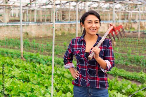 Female farmer with rake on a farm field - fototapety na wymiar