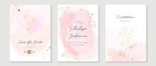Luxury Wedding Invitation Card Vector. Invite Cover Design With Watercolor Blush And Gold Line Texture.