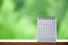 Close Up Calendar June 2021 On Natural Green View Background