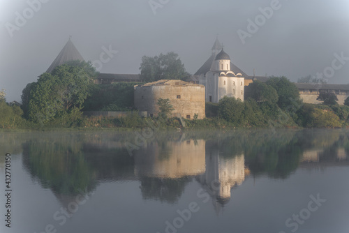 Obraz na plátne Foggy June morning at the ancient Old Ladoga fortress