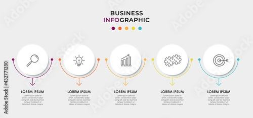 Valokuva Vector Infographic circle label design business template with icons and 5 options or steps