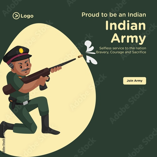 Obraz na plátně Banner design of proud to be an indian army cartoon style template