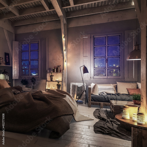 Truss Loft with Pallet Furniture by Night (focused) - 3d visualization - fototapety na wymiar