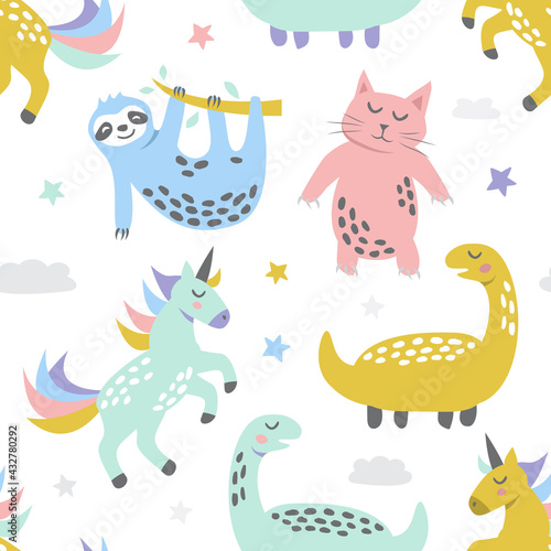 Naklejka premium Childish seamless pattern with cute cat sloth unicorn and dinosaur. Creative texture for fabric, textile