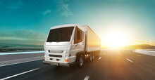 Delivery Truck Run On The Road With Sunrise Landscape, Fast Delivery,cargo Logistic And Freight Shipping Concept. 3d Rendering.