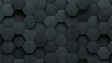 Futuristic, Hexagonal Wall Background With Tiles. Polished, Tile Wallpaper With 3D, Concrete Blocks. 3D Render