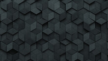 Futuristic Tiles Arranged To Create A Concrete Wall. Semigloss, 3D Background Formed From Diamond Shaped Blocks. 3D Render