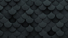 Semigloss Tiles Arranged To Create A 3D Wall. Fish Scale, Concrete Background Formed From Futuristic Blocks. 3D Render