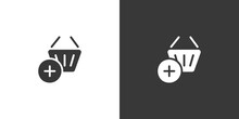 Shopping Basket. Add Product. Isolated Icon On Black And White Background. Commerce Glyph Vector Illustration