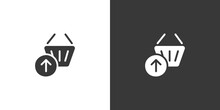 Shopping Basket. Up Arrow. Isolated Icon On Black And White Background. Commerce Glyph Vector Illustration