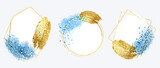 Luxury Gold invite frame design vector. Invitation design for wedding, VIP Invitation card, Image frame, wall art decoration. Water color frame design. vector illustration. - 432785680