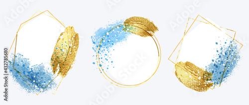Fototapeta Luxury Gold invite frame design vector. Invitation design for wedding, VIP Invitation card, Image frame, wall art decoration. Water color frame design. vector illustration. obraz