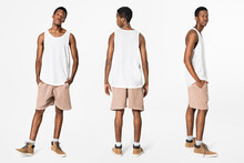 White Tank Top And Shorts Men's Summer Apparel
