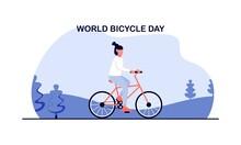 Cartoon World Bicycle Day Illustration