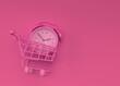 Leinwandbild Motiv 3D Render Alarm clock in the Shopping Cart illustration Design.