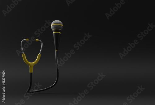 Obraz 3D Render Realistic Medical Stethoscope with Mic illustration Design. - fototapety do salonu