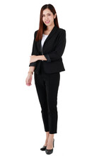 Full Body Portrait Of Asian Beautiful Business Working Long Hair Woman Wearing Formal Black Suit And High Heel Shoes, Smiling, Confident Smart Posing, Standing On Isolated White Background Cutout.