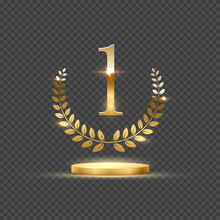 Golden Podium For First Place With Laurel Wreath And Number One. Gold Rank On Stage On Transparent Background. Championship In Sport Or Movie Victory In Competition Vector Illustration