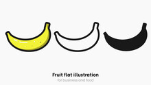 Banana Vector Icon Set Isolated On White Background. Yellow Banana Fruit With Peel, Tropical Fruit For Monkey And Healthy Food. Cute Juicy Vegan Object For Sticker And Logo. Banana Vector Set
