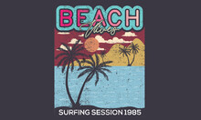 Retro Beach Vibes Vector Design For Apparel And Others. Palm Tree Artwork.