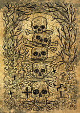 Textured Engraved Illustration Of Scary Skulls And Bones In Cemetery With Graves, Evil Trees And Fool Moon. Mystic Background For Halloween, Esoteric, Gothic, Occult Concept