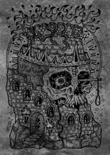 Textured Black And White Engraved Illustration Of Destroyed Tower And Scary Scull With Flame, Gallows And Crown. Mystic Background For Halloween, Esoteric, Gothic, Occult Concept