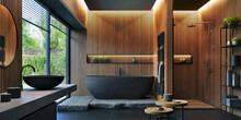 Bathroom Interior Design With Matte Black Bath And Modern Shower