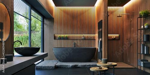 Fototapeta Bathroom interior design with matte black bath and modern shower obraz