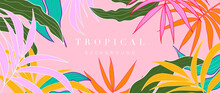 Pink Abstract Art Tropical Leaves Background Vector. Wallpaper Design With Watercolor Art Texture From Palm Leaves, Jungle Leaves, Monstera Leaf, Exotic Botanical Floral Pattern.
