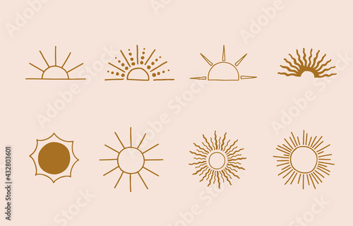 Collection of line design with sun.Editable vector illustration for website, sticker, tattoo,icon - fototapety na wymiar