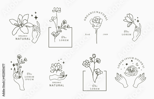 Beauty occult collection with geometric,magnolia,rose,moon,star,flower.Vector illustration for icon,sticker,printable and tattoo - fototapety na wymiar