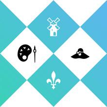 Set Paint Brush With Palette, Fleur De Lys, Windmill And Elegant Women Hat Icon. Vector
