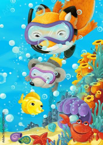 Obraz cartoon ocean scene coral reef forest animals diving - fototapety do salonu
