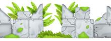 Cartoon Game Stone Vector Background, Seamless Rock Border Landscape, Banana Leaves, Bushes, Ruins. Jungle Cracked Boulders, Ui Level Nature Illustration. Ancient Gray Stone Background, Exotic Plants