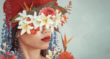 Abstract Art Collage Of Young Asian Woman With Flowers