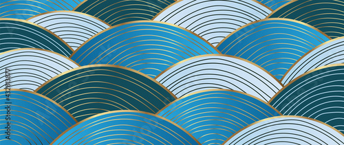 Gold abstract wave line arts background vector. Luxury wall paper design for prints, wall arts and home decoration, cover and packaging design. - fototapety na wymiar