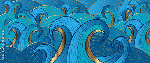 Gold abstract wave line arts background vector. Luxury wall paper design for prints, wall arts and home decoration, cover and packaging design.