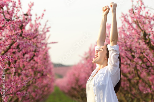 Fototapeta Excited woman raising arms celebrating spring in a field obraz