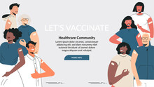 Diverse People After Vaccine Injection Concept. Banner Let's Vaccinate, Healthcare Campaign. Vaccination Landing Page Template. Multicultural Team, Unity In Diversity. Flat Vector Cartoon Illustration
