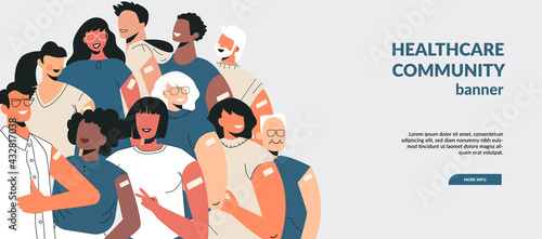 Fototapeta Diverse people after vaccine injection concept. Banner Let's Vaccinate, healthcare campaign. Vaccination landing page template. Multicultural team, unity in diversity. Flat vector cartoon illustration obraz